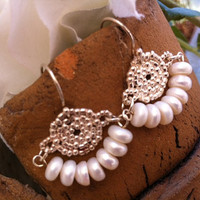 Wedding silver and pearls earrings, 925 sterling silver with fresh water pearls , Brides earrings, Brides jewerly, Wedding jewelry, Evening