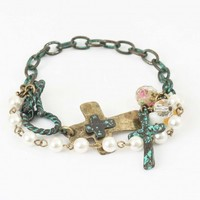 Pearl and Turquoise Brushed Bracelet | Altar'd State
