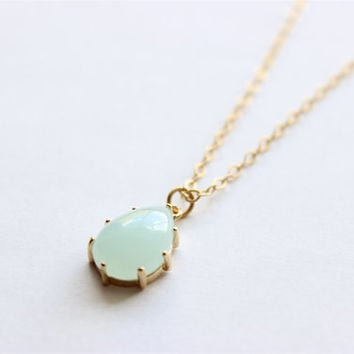 "Bridesmaid Gift - Set of 4 - Light Blue Teardrop Glass Stone Pendant on 22"" Matte Gold Chain Necklace"