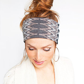 Geometric Knit Headband - Fine Knit Black Salmon White Warm Head Wrap Stretch Knit Hair band Hair Accessories Etsy Finds Gift for her ideas