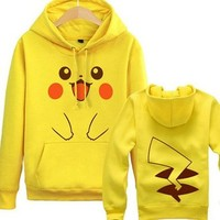 Unisex-adult Pokemon Pikachu Printed Fleece Yellow Hoodie