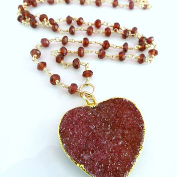 Red heart druzy garnet rosary necklace, Christmas red heart rosary necklace