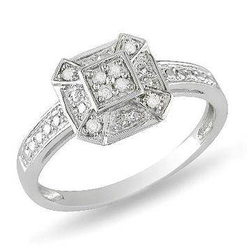 1/10 CT. T.W. Composite Square Diamond Framed Cluster Ring in Sterling Silver