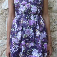 Purple Floral Strapless Bandeau Dress with Button Bodice