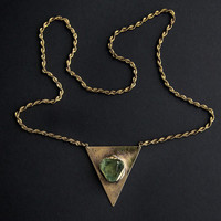 Raw fluorite crystal triangle boho gypsy antique style gold necklace, brass - made to order
