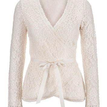 Pristine floral lace wrap top with ribbon
