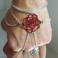 "Red Rose ""Slave Bracelet Ring"". Made with Silver plated and 925 Silver Sparkling Wave Chain. Adjustable. 6-8"" wrists. Belly Dancer Jewelry"