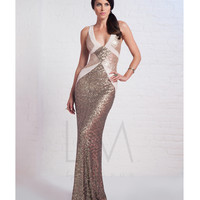 LM by Mignon Antique Gold Sequin Contrast V-Neck Gown Prom 2015