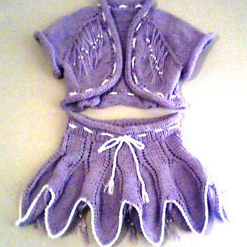 purple  knitted soft  set for baby girl includes skirt and shirt
