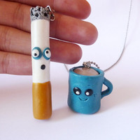 Best Friends Worried Cigarette and Happy Coffee Necklace Set - Kawaii Necklace