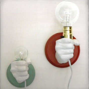 Hand Holding Bulb Wall Lamp Red by KaraGunter on Etsy