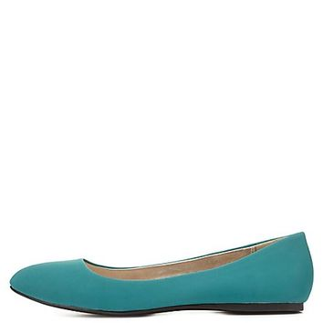 Pointed Toe Ballet Flats by Charlotte Russe - Teal