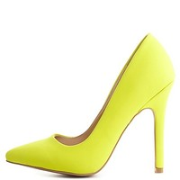 Qupid Single Sole Pointed Toe Pumps by Charlotte Russe - Neon Yellow