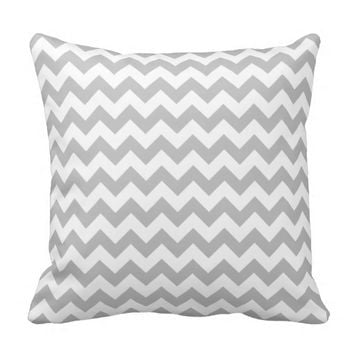 Silver Grey Gray and White zigzag Chevron