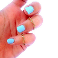 2  Chain Above The Knuckle Ring - Gold  Chain Knuckle Rings - Set of 2  by Tiny Box