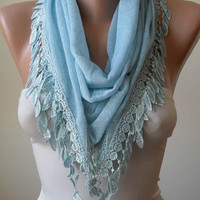 Triangle-  Light Blue Scarf with Trim Edge