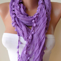 Trendy - Lilac Cotton Scarf with Pompom Trim Edge