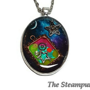Steampunk Space and Stars Necklace - Custom Painted Steampunk Necklace
