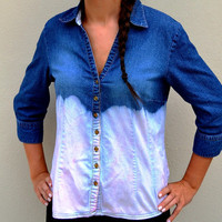Jean Button Down Women Blouse Dip dyed and Ombred