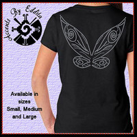 Rhinestone Fairy Wings on back of T Shirt in GIRLS sizes S - L inspired by Tinkerbell and all Magical Fairies