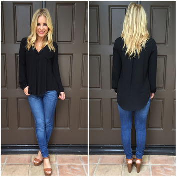 Black Long Sleeve Pocket Blouse