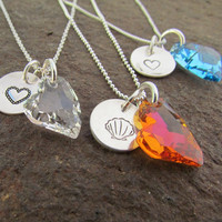 Sterling Necklace Hand Stamped Swarovski Crystal Glass Heart Dangle with Design Stamp Charm Choice of Colors