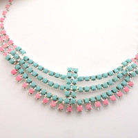 SUMMER SALE Mint & Pink Necklace