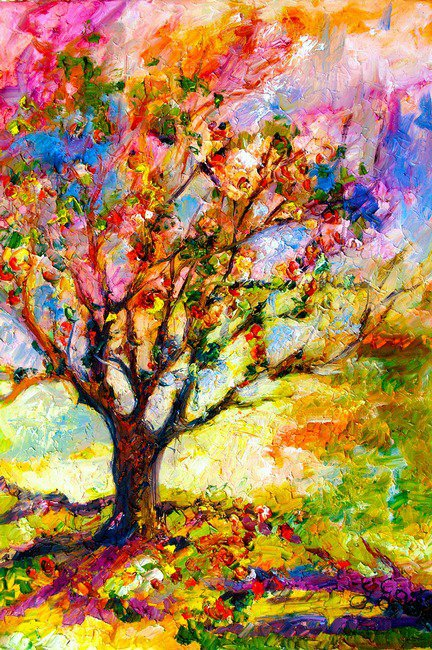 Abstract grandmas apple tree by ginette from imagekind art for Pretty abstract paintings