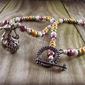 Aladdin Charm Necklace Genie Bottle Fairy Tale Pendant Beaded Necklace Silver Glass Pearls Beaded Jewelry Handmade Necklace Pearl Necklace