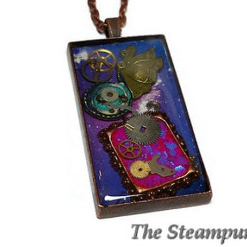 Steampunk Outer Space Butterfly Necklace - Steampunk Jewelry