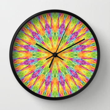 Colorful Rainbow Crystals Wall Clock by 2sweet4words Designs