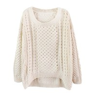 Your Gallery Women's Hollow Out Loose Pullover Casual Knitted Sweaters (beige)