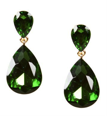 Green Gemstone Tear Drop Earrings