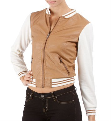Camel Faux Leather Letterman Jacket
