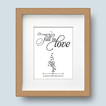Framed Romantic Print, It's Easy to Fall in Love