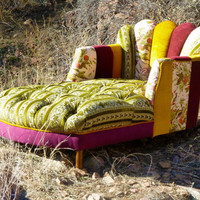 Vintage Patchwork Channel Tufted Chaise Lounge
