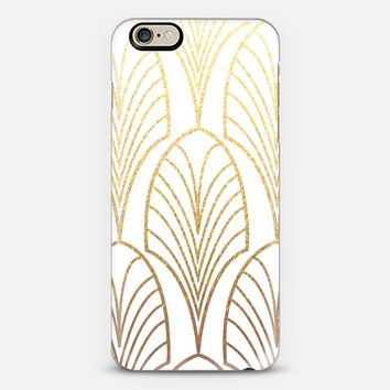 ARTDECO FEATHERS - GOLD AND WHITE - PHONE CASE iPhone 6 case by Nika Martinez | Casetify