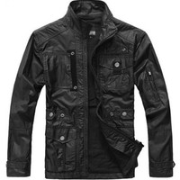 Men Autumn Winter High Quality Pocket Stand Collar Black Pplyester Jacket S/M/L/XL@Y211b $15.55 only in eFexcity.com.