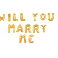 Will You Marry Me - Giant Gold Mylar Balloons, 40 inch balloons, Marriage Proposal, Engagement Photo Prop, Proposal Idea, Unique Proposal