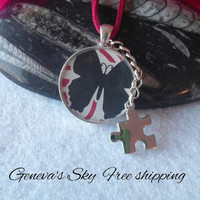 Autism jewelry - Autism necklace butterfly resin puzzle piece necklace by Geneva's Sky free shipping