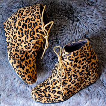 wild thing leopard wedge booties
