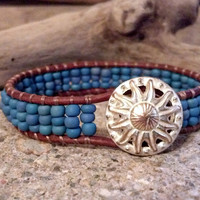 Wildflower Leather Wrap Bracelet, Friendship Bracelet, PZW113