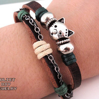 Cat Charm Bracelet Silver Kitty Cat.. on Luulla