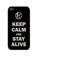 Rubber Case hunger games keep calm and stay alive case for iPhone 4/4s