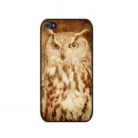 Rubber Case grunge owl style case for iPhone 4 and iPhone 4s