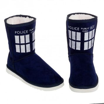 Doctor Who Navy TARDIS Boot Slippers