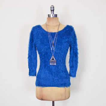 Vintage 90s Blue Fuzzy Sweater Jumper Top 90s Sweater Grunge Sweater Club Kid Sweater 50s Pin Up Sweater Pinup Sweater Bombshell S Small