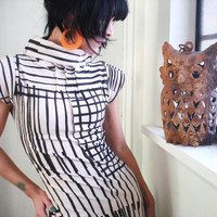 Focus on Sight - iheartfink Handmade Hand Printed Mod Striped Cowl Dress