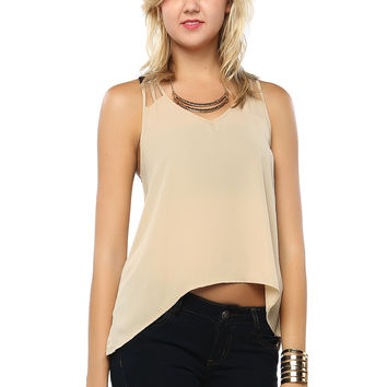 Fake Leather Pointed Cami Top