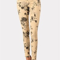 Lovie Flower Jeans - Beige at Necessary Clothing